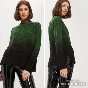 Topshop Twisted Dip-Dye Sweater Green Black Ombré